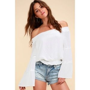 Lulus White Lace Bell Sleeve Off-the-Shoulder Top